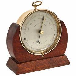 Brass Ships Barometer Wooden Table Clock