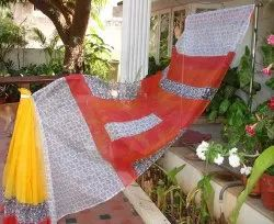 Casual Hand Block Printed Supernet Sarees with 5.5 m Separate Blouse Piece