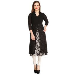 Cottinfab Women's Black Georgette Kurti