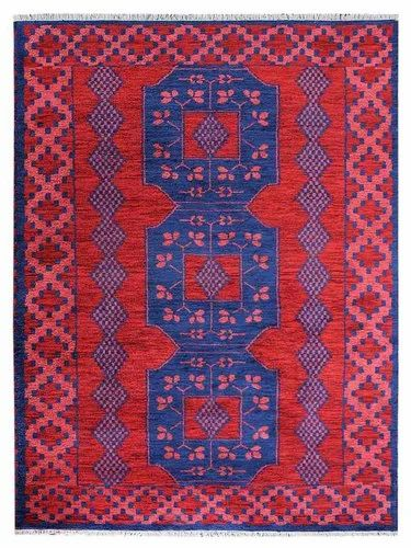 Hand Knotted Kazak Silk & Wool Area Rug