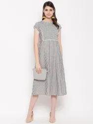 Women Cotton Strip Dress