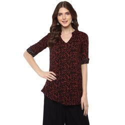 Women's Maroon Rayon Top