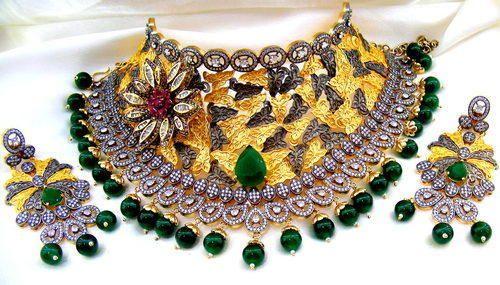 f980e2a3505c22 Kumar Jewels Golden Designer Wedding Wear Broad Enamel Work Kundan Choker  Set