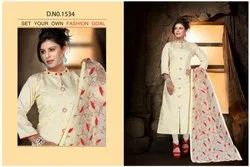Cotton Embroidery A Line Kurti Set with Dupatta