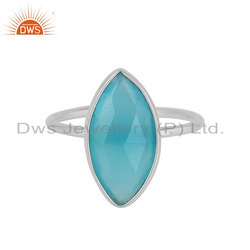 Fine Sterling Silver Marquise Shape Aqua Chalcedony Ring Wholesaler