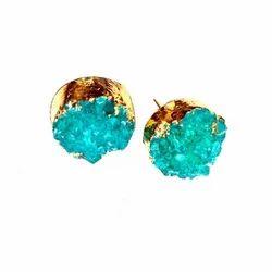 Handmade Gold Plated Brass Druzy Earrings