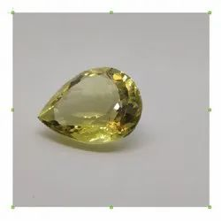 Yellow Semi Precious Quartz Faceted Pear Shaped Gemstone for Jewellery