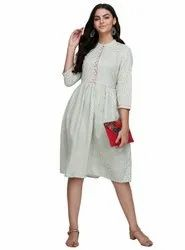 Embroidered Cotton Woman Styled Dresses, 65, Machine wash