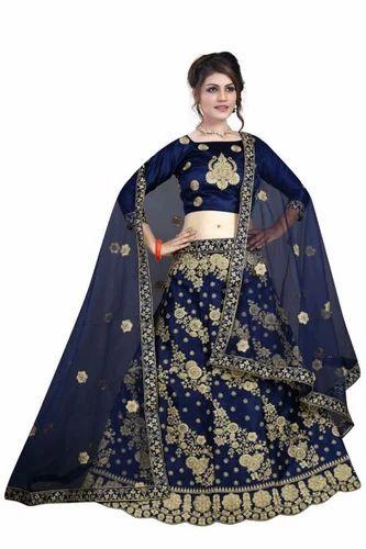 e84efa572f Bridal Wear Semi-Stitched DESIGNER SATIN EMBRODERIED LEHNGA CHOLI, Dupatta  Fabric: Net,