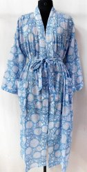 Cotton Kimono Robe Short Hand Block Printed Bathrobe