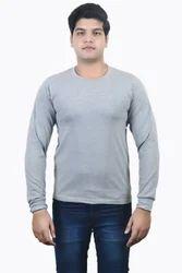 Light Gray Melange -Round Neck Full Sleeve T-Shirt