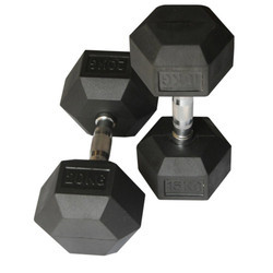 Chrome Dumbbells with Rubber Head