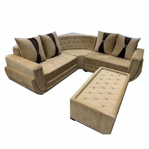 Suede Fabric 4 Seater Corner Sofa Set