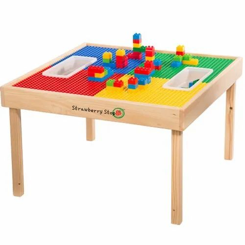 Standard Multicolor Lego Table For, Wooden Lego Table With 3 Chairs