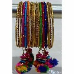 Multicolor Handmade Silk Thread Bangle Set, Size: 2.2 2.4 2.6 Inch, Round