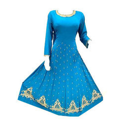 Non-Stretchable Blue Ladies Designer Embroidered Kurti