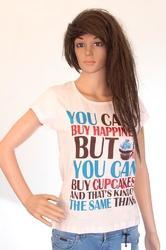 Cotton and Lycra Ladies V Neck Printed T Shirt