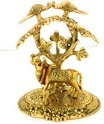 Gold Plated Cow and Calf Statue Under Tree