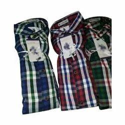 Cotton Collar Neck Mens Designer Checks Shirt, Size: M-XXL