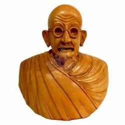 Wooden Gandhi Bust