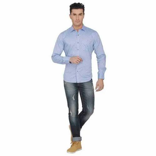 f42725842252 Sparky Satin Mens Light Blue Printed Shirts, Rs 870 /piece   ID ...