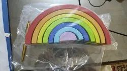 Natural Non Toxic Education Toy Paras Wooden Rainbow Stacker, Size/Dimension: 9.5 X 4.75 X 3