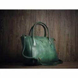 Ladies Green Plain Leather Handbag