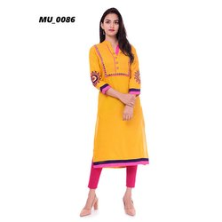 A-Line Yellow Ladies Kurti