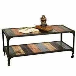 Kernig Krafts Rectangular Cast Iron Reclaimed Wood Wooden Center Table, Size: 70x50x50cm (lxbxh)