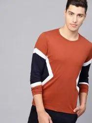 Cotton Plain Mens Orange T Shirt, Size: S to XXL