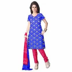 Blue and Peach Color Fancy Design Gadhwal Bandhani Dress Material