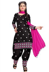 Unstitched Black, Pink Ladies Cotton Patiala Suit, Machine Wash