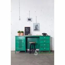 Vintage Industrial Desk With Wooden Top For Home Office Furniture