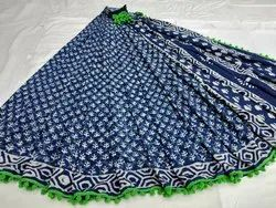Dabu Indigo Hand Printed Cotton Saree With Pompom Lace