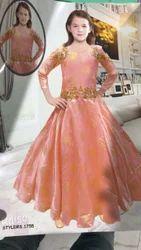 Orange Designer Gown For Child Girl