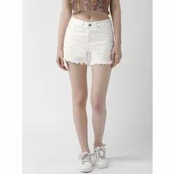 Thigh Length Casual Wear Ladies White Denim Shorts 0, Machine wash