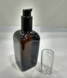 100 ML Square Amber Bottle with Lotion Pump