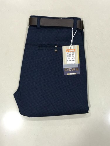 Mens Navy Blue Cotton Pant, Size: S, M & L