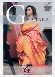 YNF Gharara Ikkat Art Silk Sarees Catalog Collection at Textile Mall Surat