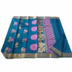 83c55d30d93a7 Bridal Wear Cotton Silk Jacquard Border Kora Cotton Saree