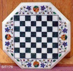 Marble Table Top With Inlay Work and Chess Board