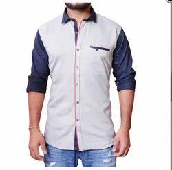 Cotton XL Blue And Off White Casuals Denim Shirt
