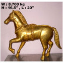 Golden Solid Brass Horse Statue, For Interior Decor And Exterior Decor