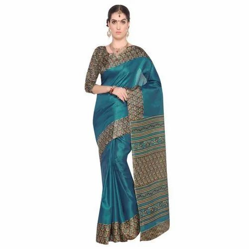 Turquoise & Beige Colored Bhagalpuri Printed Casual Saree with Blouse Piece