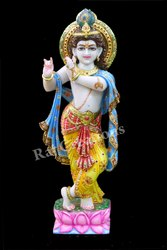 Raj Creations Marble Multicolor Krishna Statue