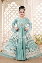 Silk Embroidered Kids Exclusive Dress, Size: 24-38