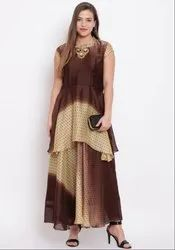 Coffee Brown and Cream Cotton Blend Long Kurti