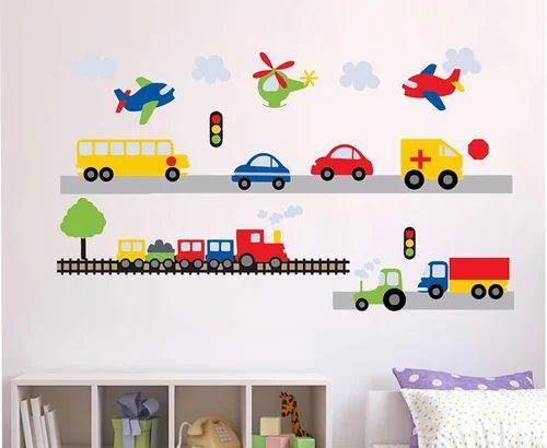 Multicolor Multiple Decor Kafe Cartoon Cars Highway Track Wall