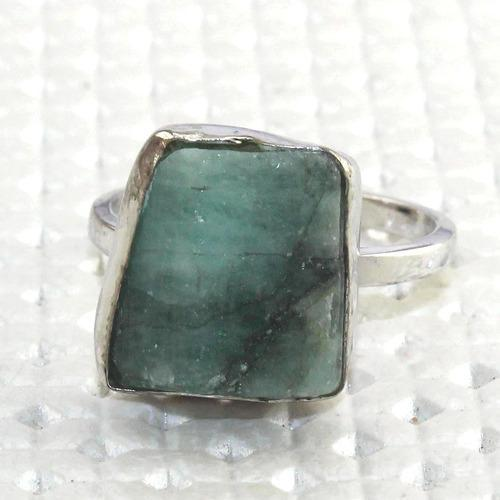 fb7b35747 Zeva Jewels Natural Emerald Rough Ring 925 Sterling Silver Plated Adjustable  Ring Wholesale Jewelry India