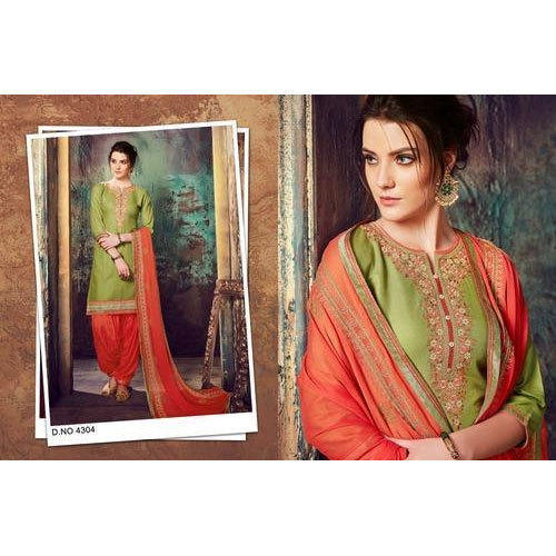 Embroidered Semi-stitched Rayon Kessi Patiala Suit Salwar